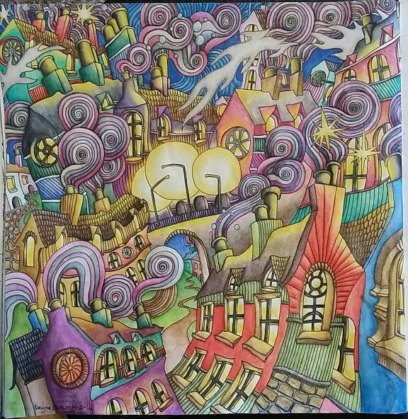 The Magical City Coloring Book Chimneys Rooftops Page Colored By Dayna