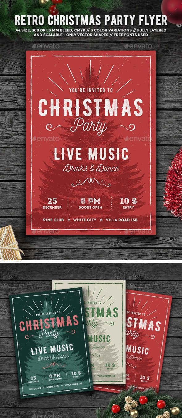 #Rustic Christmas Party #Flyer - Holidays #Events #Christmas #NewYears #Seasons #Holidays #Winter #Graphics #Design