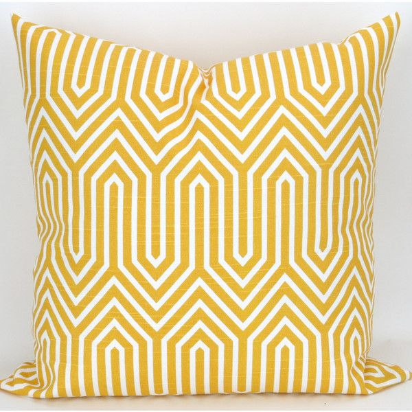 Big Yellow Decorative Pillows : Yellow Geometric Floor Pillow Chevron Zigzag Cushion Big Pillow Yellow... ($18) liked on ...
