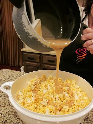 Yummy soft caramel popcorn! 1 C. Brown Sugar, 1 cube butter, 1 C. light Karo syrup, 1 can sweetened condensed milk. Melt all the ingredients in a saucepan over medium-low heat. Once caramel is boiling cook for approximately two minutes stirring constantly. Pour over popcorn immediately (this recipe will cover three bags of popcorn thoroughly).