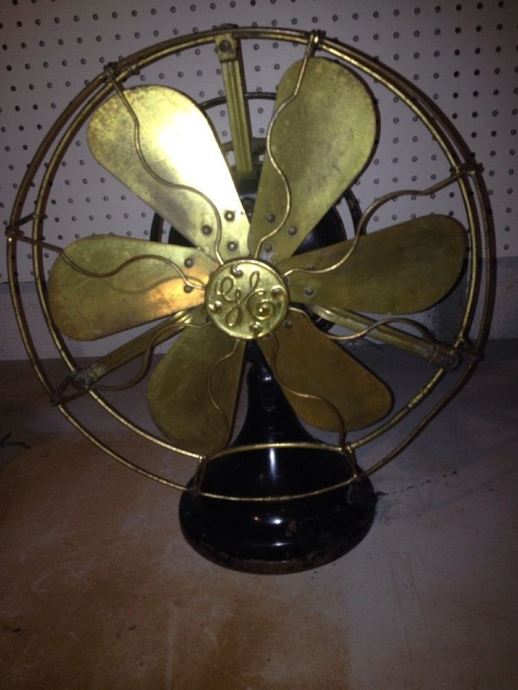 Vintage Antique Ge Oscillating Six Brass Blade Table Fan