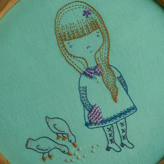 Ginger and ducks - PDF hand embroidery pattern - Instant digital download - Girl and birds - Marcobet designs