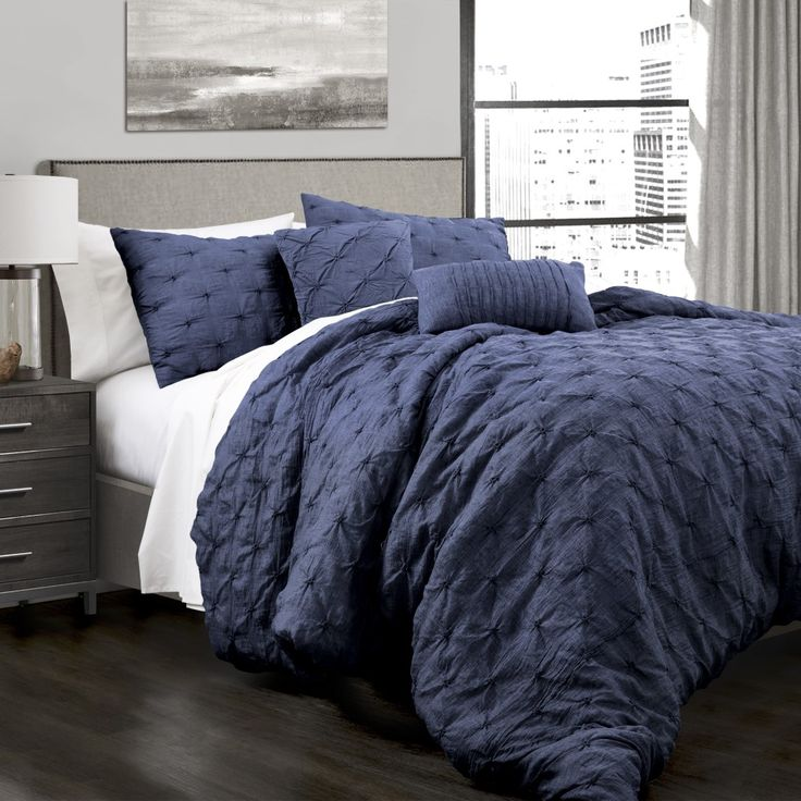 Ravello Pintuck Comforter Navy 5Pc Set Full/Queen - Lush Decor 16T001911