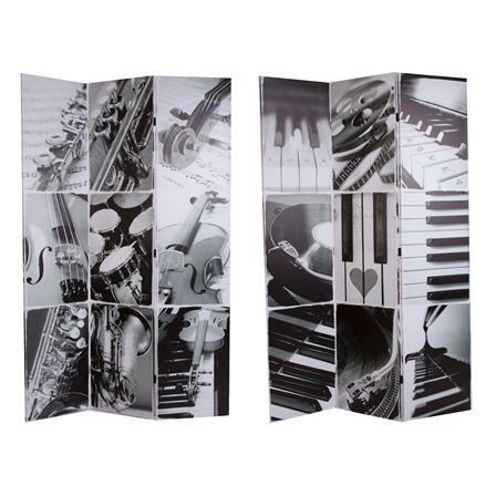 Biombo bifacial instrumentos en blanco y negro de estilo - Biombos de ducha ...