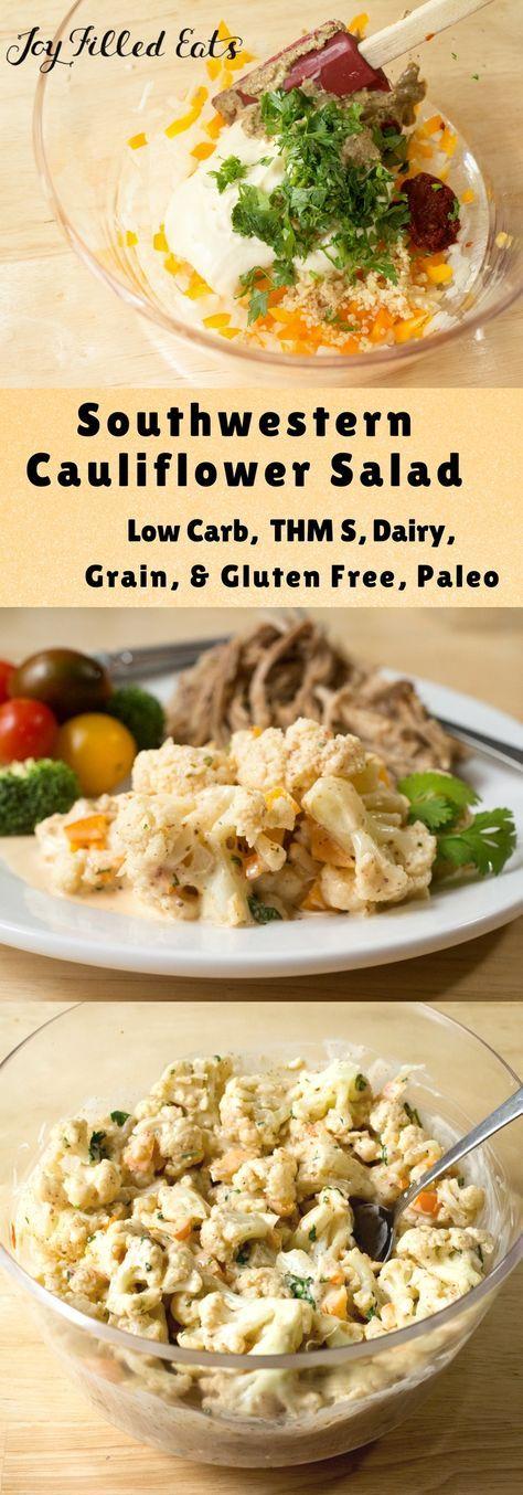 Southwestern Cauliflower Salad - Low Carb, Dairy Grain Gluten Free, THM S, Paleo via @joyfilledeats