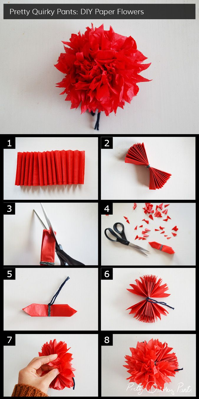 Instruction Layout - crepe paper flower pom pom - full post on Pretty Quirky Pants