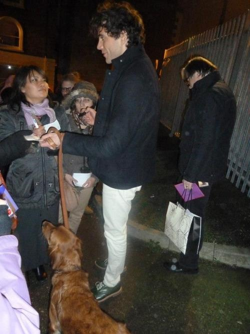 Mika with fans & his dog Melachi @ The Roundhouse, Camden London Dec 2012