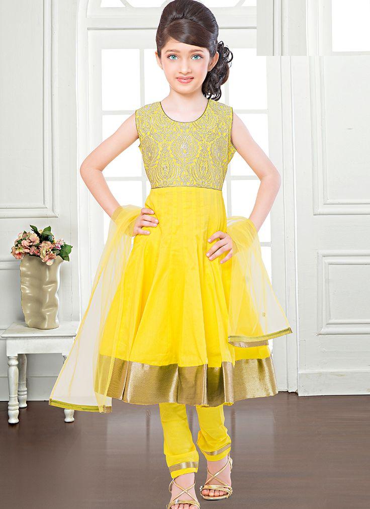 Breathtaking Yellow Net Designer Kids Wear Salwar Suit