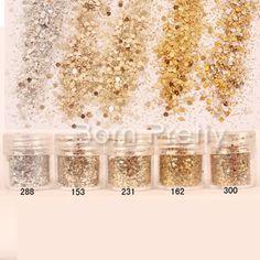 C$ 1.34 Pas cher 1 Boîte 10 ml Mixte Nail Art Glitter Poudre Champagne Or Argent Paillettes Super Maquillage Glitter Nail Poudre Ensemble, Acheter Paillettes à ongles de qualité directement des fournisseurs de Chine:HOT Selling 8Pcs/Set Shinning Mirror Nail Glitter Powder Gorgeous Nail Art Manicure Sequins Chrome Pigment Nail Glitters