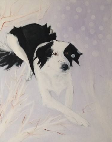 Buy Border Collie in the Snow, a Acrylic on Canvas by Aida Martins Dias from Netherlands. It portrays: Dogs, relevant to: acrylic, painting, snow, animals, dog, figurative, border collie Border Collie in the Snow