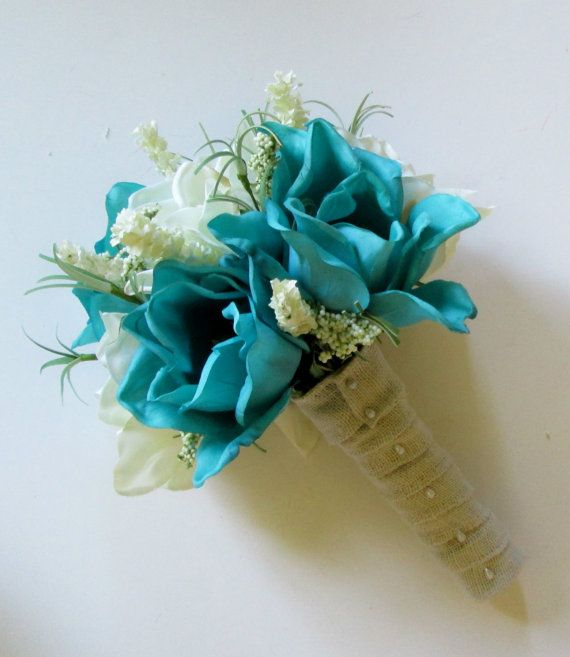 Turquoise and White Magnolia Bouquet, Teal Colored Wedding Flowers, Teal Wedding Bouquet, Bridal Bouquiet, Bridesmaids Bouquet by shannonkristina. Explore more products on http://shannonkristina.etsy.com
