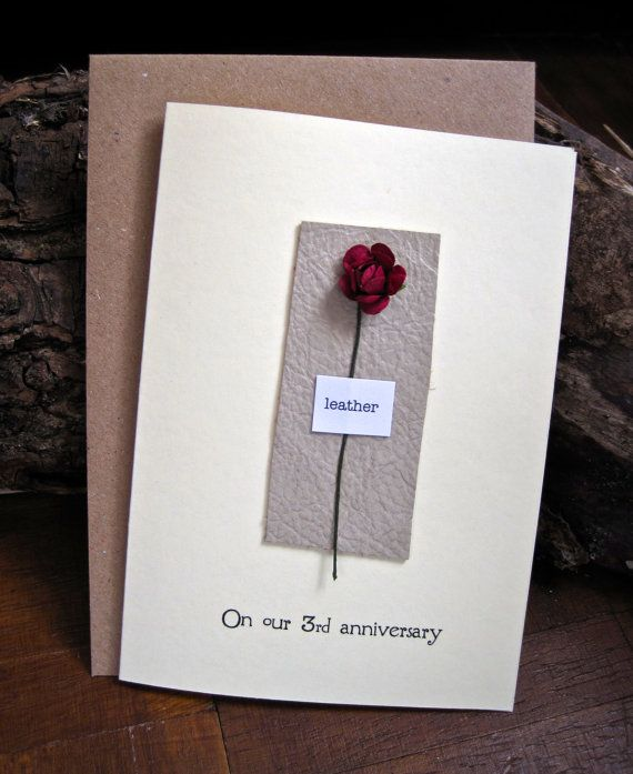 Gifts For 3rd Wedding Anniversary: 3rd Anniversary LEATHER Keepsake Card. Red Rose On Beige
