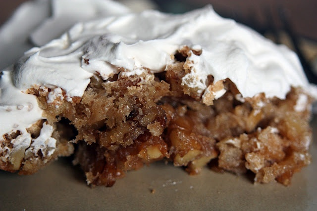 Walnut Ritz Cracker pie! No flour, no crust, just sugar, eggs, butter, walnuts and crushed up Ritz crackers, with a little whipped cream on top.  An old recipe I haven't seen in many years...