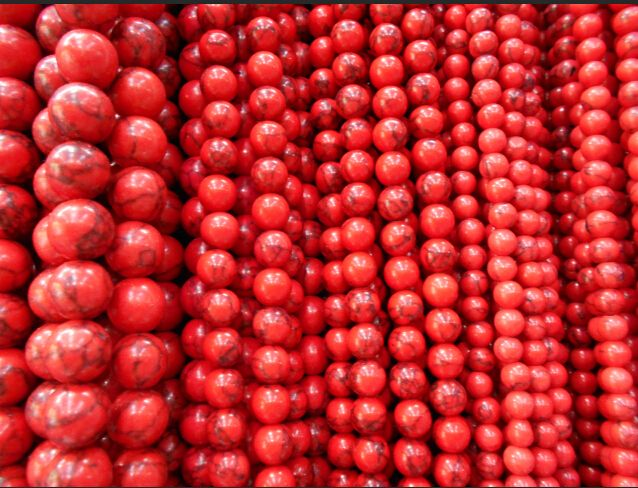 Free Delivery Of   Red Pine Round Interval Turquoise Stone Beads 4 6 8 10 12 MM Size Selection Of Jewelry Making