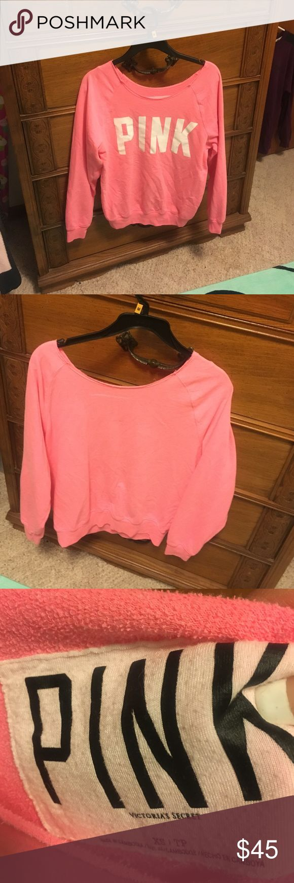 Pink slouchy crew Size XS can be worn on shoulders or hanging off 1 shoulder PINK Victoria's Secret Tops Sweatshirts & Hoodies