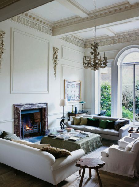 Classically luxurious living room. Rose Uniacke's Classic Designed Minimal Home