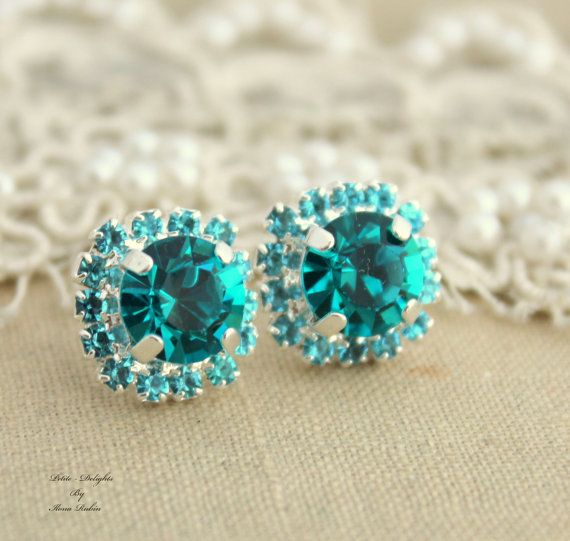 Blue Teal Rhinestone stud swarovski Crystal Christmas by iloniti, $28.00 #teal, #jewelry,rhinestones, #earrings