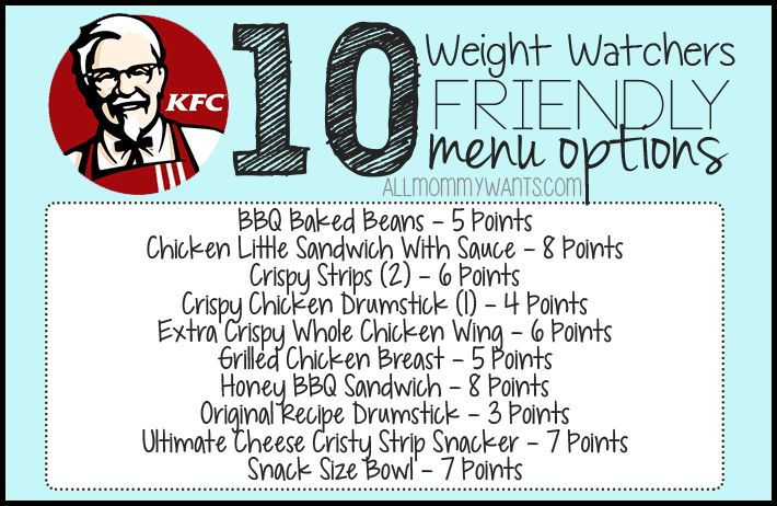 Here are 10 menu options at KFC that will fit into your Weight Watchers Meal Plan – All 8 Points or Less! Please PIN THIS POST to your Weight Watchers board! Be sure to check out 50 Weight Watchers Friendly Fast Food Options – including KFC, Wendy's, Arby's, Taco Bell, and McDonald's! BBQ Baked Beans – 5 Points …