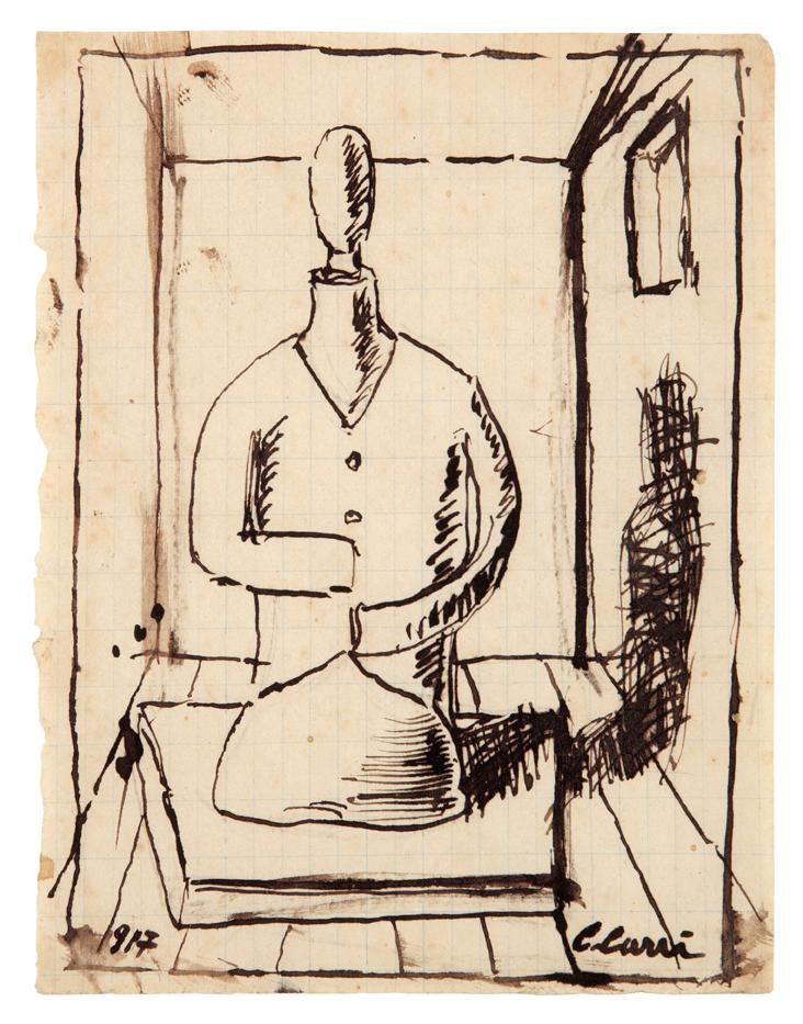 Carlo CARRA (1881 - 1966) ,Busto di manichino nella stanza, 1917