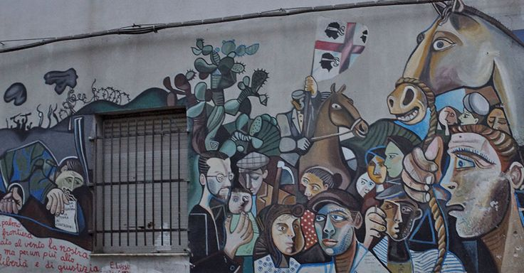 The murals talks about the Sardinian people dressed with historical costumes