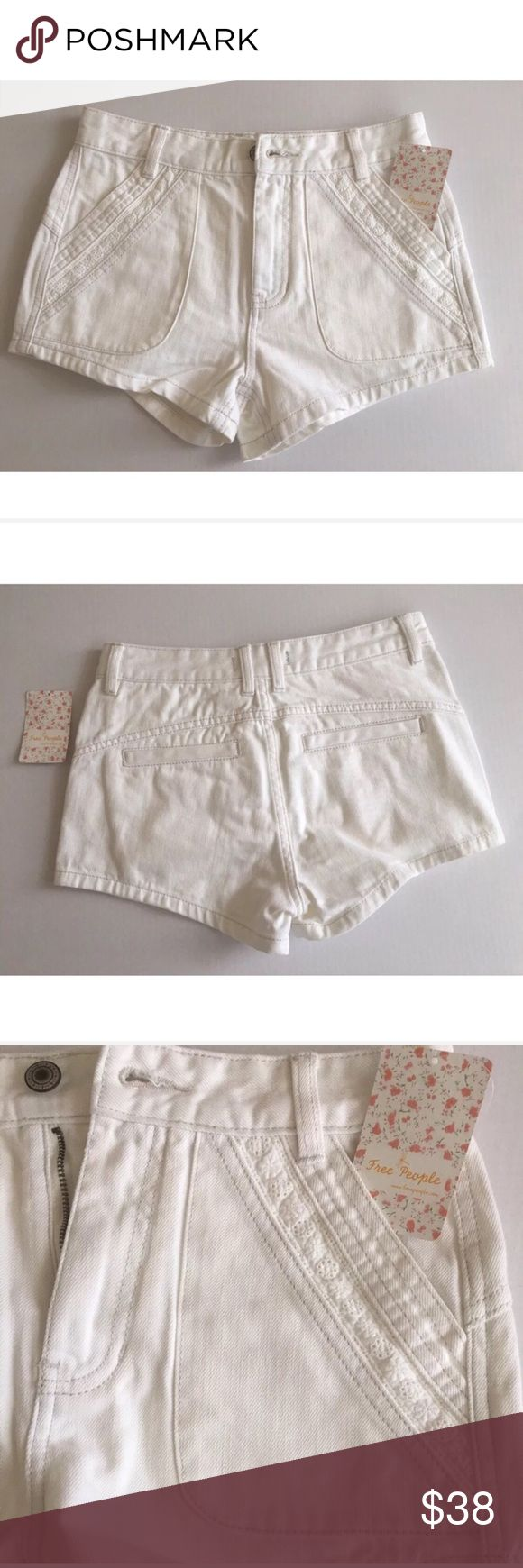 Free People white denim w/ white eyelet lace trim Free People white denim with white eyelet lace trim front jean short women's size 26 Brand: Free People Size: 26 Color: Optic Material: 100% cotton Care: Machine wash cold, tumble dry low. Condition: Brand New with tags Retail: $88 Product Details: FP sweet surrender women's short.  White lace insets both two front pockets.  Two welt back pockets.  Banded waist, button closure, zip fly, and belt loops. Made in China Approximate Measurements…