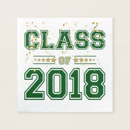 Class of 2018 Grad Party Green and Gold Napkin - graduation gifts giftideas idea party celebration