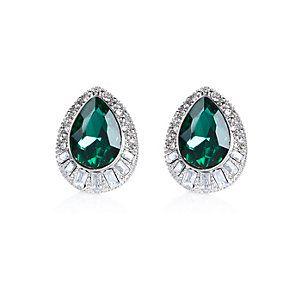 Silver tone emerald teardrop stud earrings