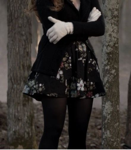 Winter outfit- leggings/tights, floral dress, black cardigan, black wedges, white gloves