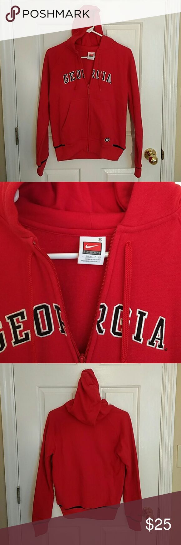 Nike Fleece Zip Up Hoodie UGA Georgia Bulldogs This is a Nike fleece hoodie that zips up the front with licensed Georgia Bulldogs team spirit. It's a size small and got buried in my closet through college - it has literally never been worn and is now too small for me. No rips, tears, or stains to speak of. Let me know if you have any questions. Nike Tops Sweatshirts & Hoodies