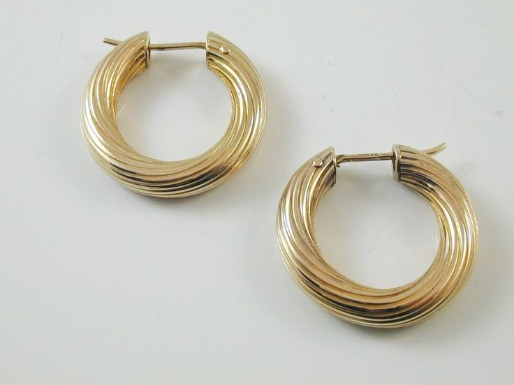Gold Hoop Earrings 9 CARAT YELLOW GOLD 4.56 GRAMS 24 MMS 5 MMS THICK