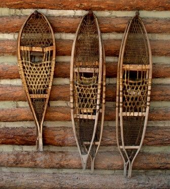 old snowshoes + on the wall