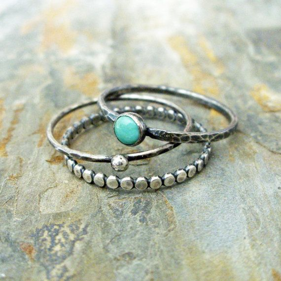 Turquoise Stacking Rings Set in Antiqued Sterling Silver Featuring Kingman…