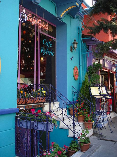 Colourful Blue Café in Istanbul  (Photo Credit DarkFrame, via Flickr)