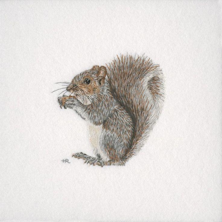Grey Squirrel Original Hand Embroidery