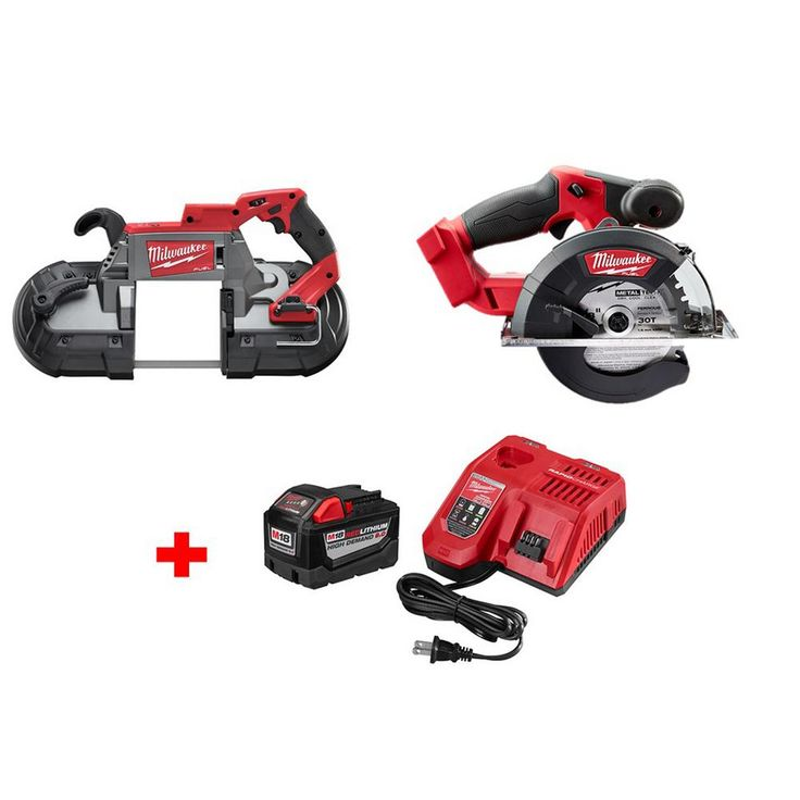 Milwaukee M18 Fuel 18-Volt Brushless Lithium-Ion Deep Cut Band Saw and Metal Cutting Saw with 9.0Ah Starter Kit
