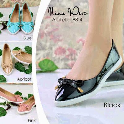 sepatu flat vinewesr type J88-4-072 black pink aprikot blue arga @270