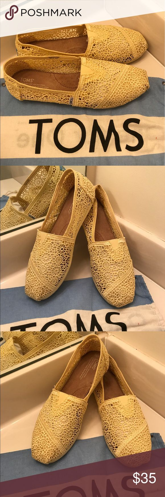 TOMS Crochet Yellow Lace Size 10 TOMS Crochet Yellow Lace Size 10. Gorgeous comfortable light and airy yellow TOMS. GUC 🚫🚫Trades, paypal, any questions in the comments regarding price please use the offer button or they will be ignored🚫🚫 TOMS Shoes Flats & Loafers