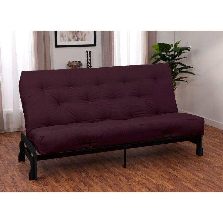 boston finish full armless frame premier futon set sleeper bed mahogany frame finish with black full futon mattress