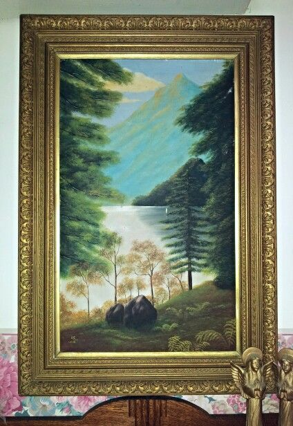 Signed O.E. 4.5.09. Naive style with lovely gilt frame. Oil on board.