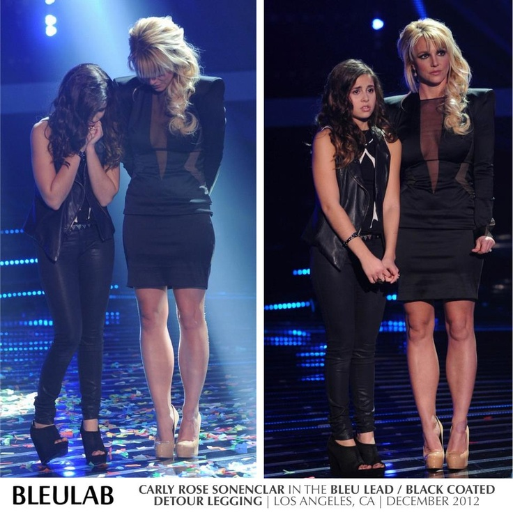 Carly Rose Sonenclar awaits competition results in Bleulab's Bleu Lead/Black Coated legging with mentor & fellow Bleulab enthusiast, Britney Spears on The X Factor.  Shop the look at www.bleulabboutique.com!