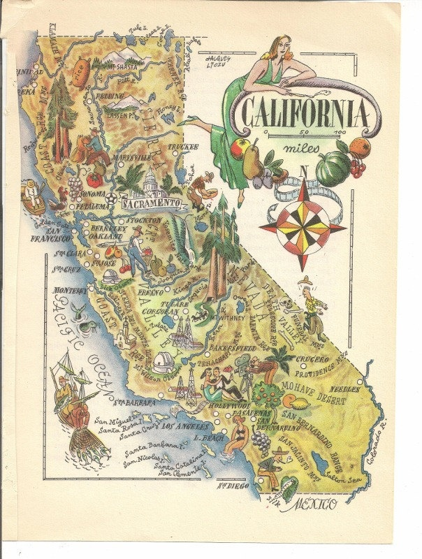 united states map california book art print jacques liozu french 1950s