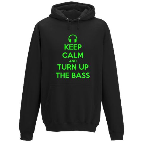 Personalised Hooded Sweatshirt with a 'KEEP CALM AND TURN UP THE BASS' design.  Keep warm and chill out in your own style. Cosy, unisex hoodie available in 18 colours and many sizes.