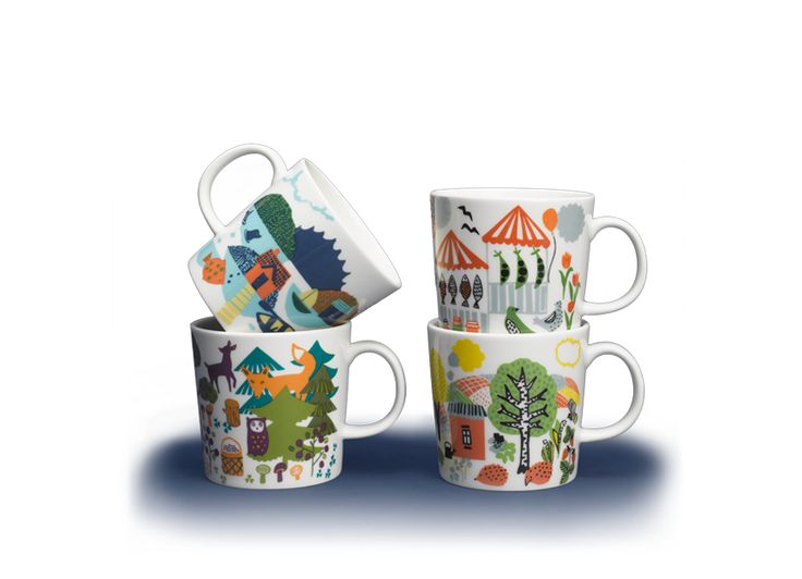 Arabia -Hetkiä- mugs. The Hetkiä (Moments) mugs designed by Miira Zukale for Arabia capture important and unforgettable little moments in our lives – whether they are at the summer cottage, in the city, in an archipelago or in a forest.