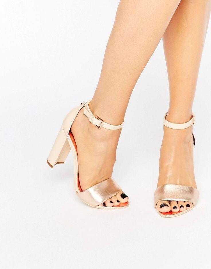Ted Baker Pink Metallic Block Heel Sandals