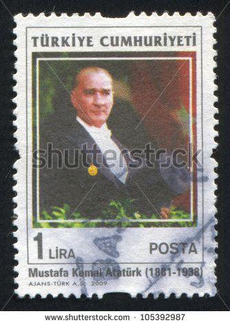 TURKEY - CIRCA 2009: stamp printed by Turkey, shows president Kemal Ataturk, circa 2009. - stock photo