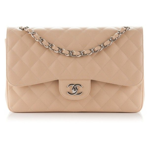 CHANEL Caviar Quilted Jumbo Double Flap Beige Clair ❤ liked on Polyvore featuring bags, handbags, shoulder bags, quilted handbags, quilted leather purse, chanel shoulder bag, chanel handbags and genuine leather shoulder bag