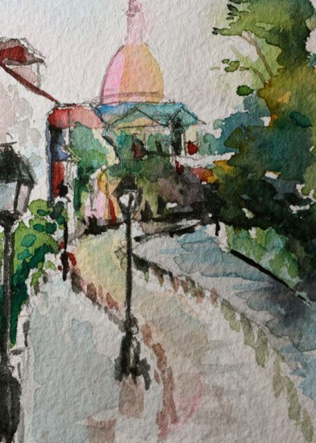 Paris Montmartre at dusk watercolour painting by Christy Obalek.  ACEO size (trading card): 2.5x3.5""