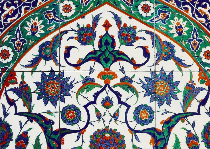 Tiles with Arch Motif(detail).  Fritware painted under the flaze Turkey, probably IZNIK, 1570-74.    Victoria and Albert Museum