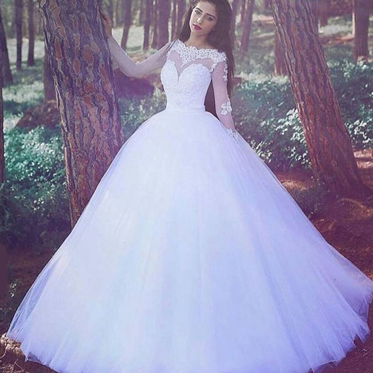 Find More Wedding Dresses Information about Sheer Romantic Ball Gown White Long Sleeve Lace Wedding Dresses 2016 vestidos de novia Long Puffy Brazil Garden Bridal Gowns LW7,High Quality dress short,China dress angel Suppliers, Cheap gown evening dress from LaceBridal on Aliexpress.com