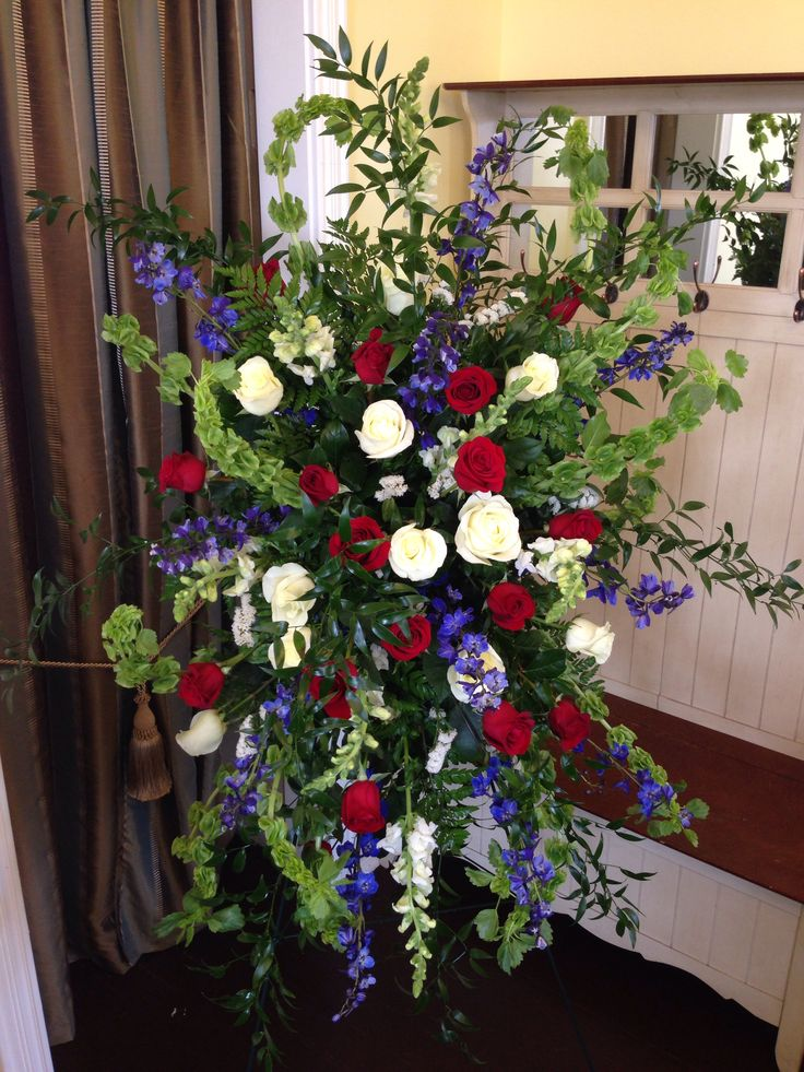 Red White Blue Easel Sympathy Funeral Flowers